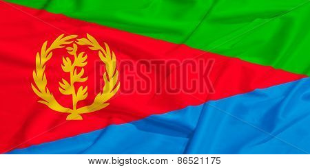 Eritrea Flag On A Silk Drape Waving