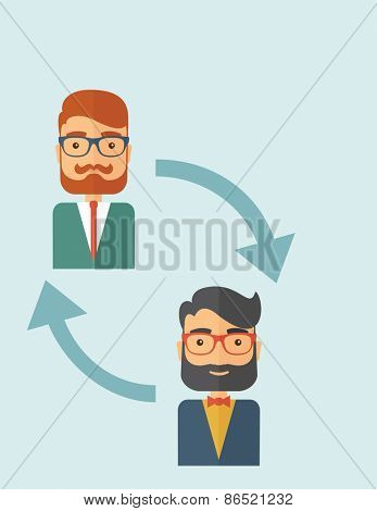 Two young Caucasian gentlemen with beard. Business exchange, emoloyee replacement concept.  A contemporary style with pastel palette, soft blue tinted background. Vector flat design illustration