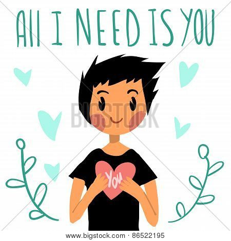 Romantic cute All I need is you postcard.