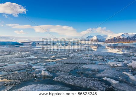 Blue ice lake in the jokulsarlon lagoon in Iceland