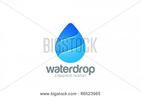 Water Drop Logo design template. Waterdrop Logotype. Clear Natural ecology filtered cleared aqua concept icon.