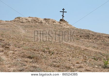 Wooden Cross On The Hill
