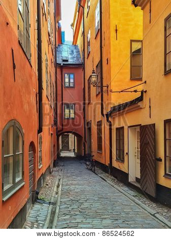 Narrow Street In The Old Center Of Stockholm