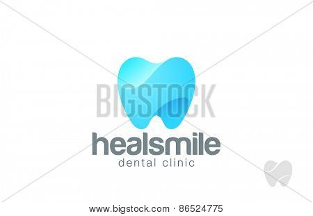 Dentist Logo tooth shape design vector template. Dental Clinic Logotype concept. Implant icon.