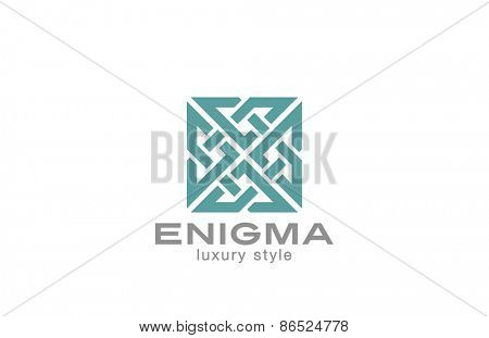 Square Enigma Rebus Maze Logo infinity loop design vector template. Infinite Labyrinth Logotype luxury concept. Jewelry Looped icon.