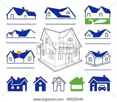 Buildings Signs Logo Set
