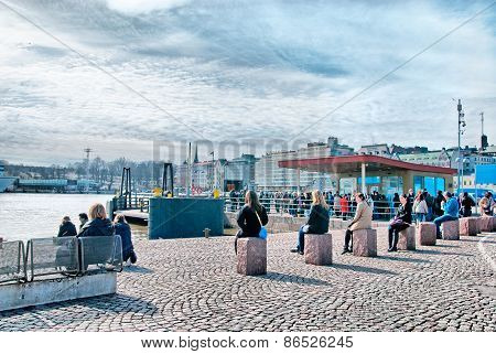 Helsinki. Finland. People near Market Square
