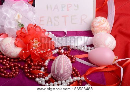 Easter Background With Eggs And Gift Box