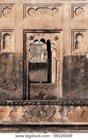 Detail Decorative Of Dauji Ki Kothi In Orchha