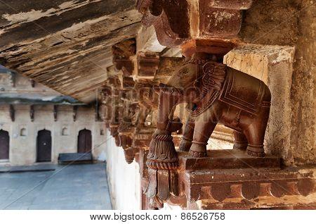 Elephant Detail Decorative Of Jahangir Mahal Or Orchha Palace