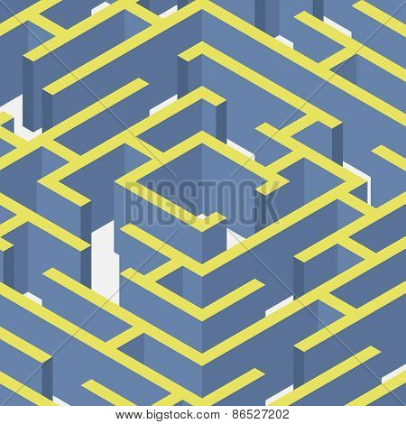 Vector illustration of maze.Isometric labyrinth flat style