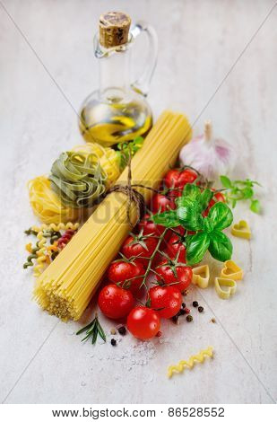 Bunch of spaghetti and vegetables