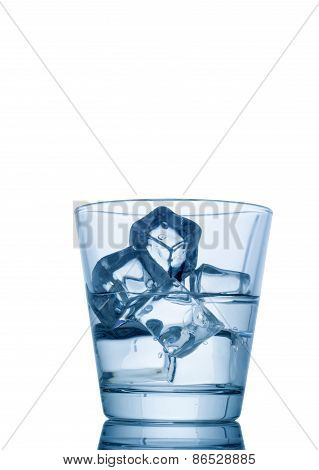 glass of water with ice isolated on white