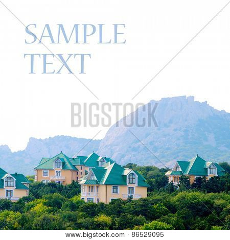 Duplex-type houses isolated on white background.