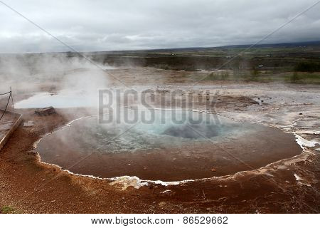 Geothermal Hot Water near Geyser In Iceland