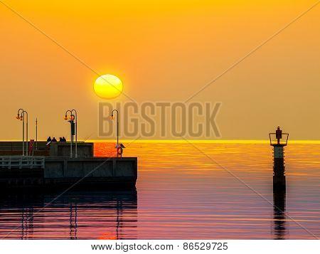 Pier At Sunrise In Sopot, Poland.