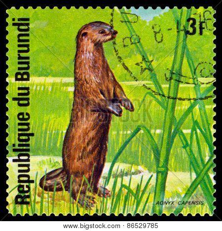 Vintage  Postage Stamp. African Otter. Animals Burundi.