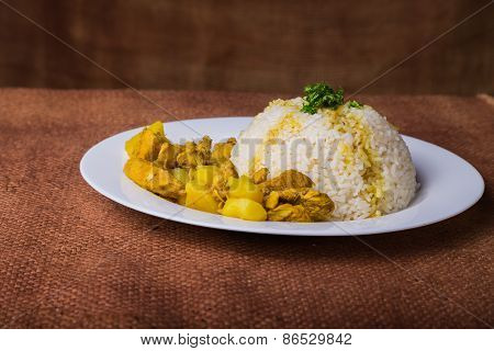 Eastern food. Rice with meat