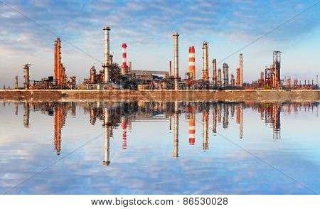 Oil Industry - Factory With Reflection In Water
