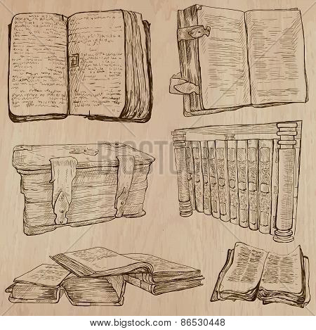 Books. Pack Of An Hand Drawn Vectors