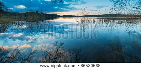 Lake Sunset, Panoramic Landscape