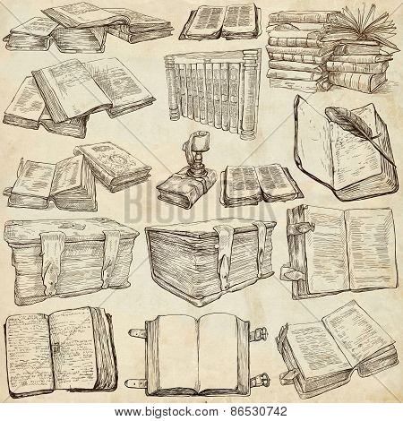 Books. Pack Of An Hand Drawn Illustrations