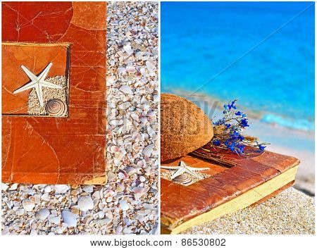 Vintage Album On The Sand With Coconut Shell And Flowers