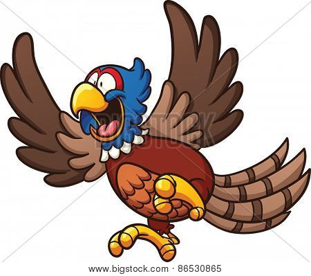 Cartoon pheasant bird. Vector clip art illustration with simple gradients. All in a single layer.