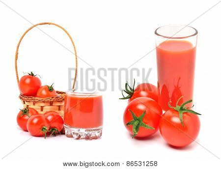 Tomato Juice In Glass And Cherry Tomatoes