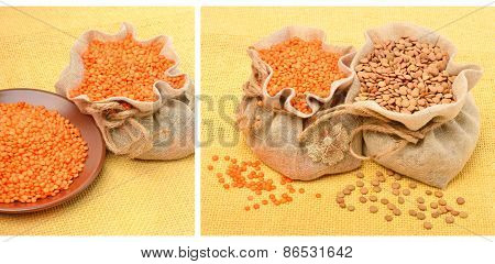 Red Lentils In The Sack On The Tablecloth