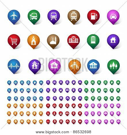 Colorful Set of Location, Places, Travel and Destination Pin Icons