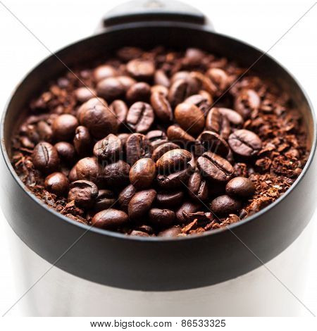 Coffee Grinder With Coffee Beans Isolated
