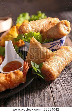 spring roll,samosa and fried shrimp