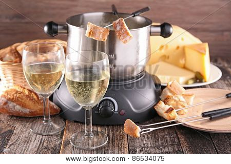 cheese fondue and wine