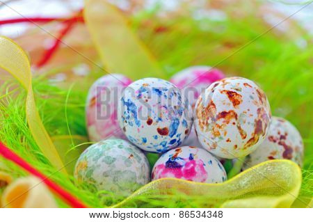 colorful speckled candy easter eggs
