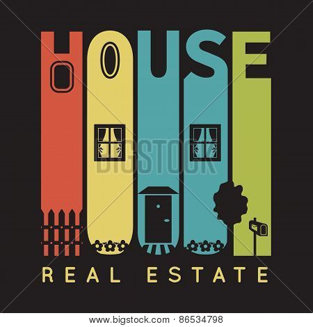 House typography with architecture icons, t-shirt graphics on black background