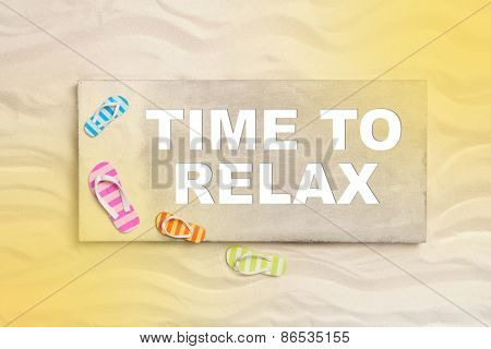 Time to relax: summer holidays on the beach with text for promotion.