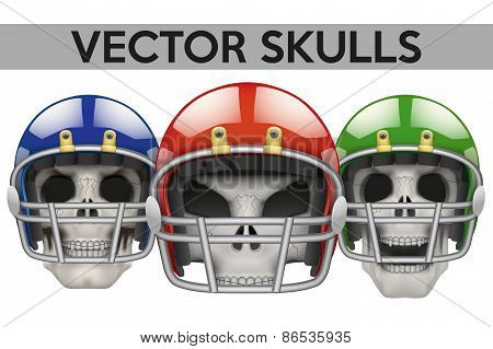 Set of Human skulls with american football helmet.