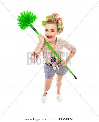 Funny Cheerful Smile Housewife / Girl With Broom, Isolated On White. Full Length / Total Shot Of Dom