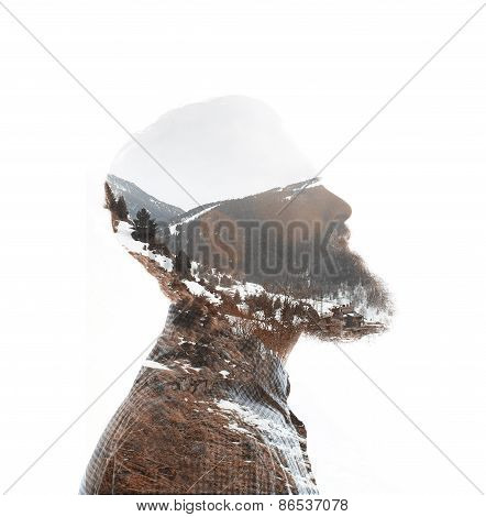 Double Exposure Of Bearded Guy And Mountain Landscape