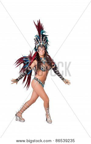 Beautiful Samba Dancer, Full Length, Isolated On White