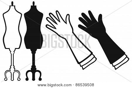 Long glove and tailor's mannequin