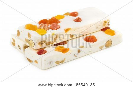 Heap Of Nougat With Nuts And Dried Fruits