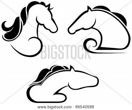 Set of black horses
