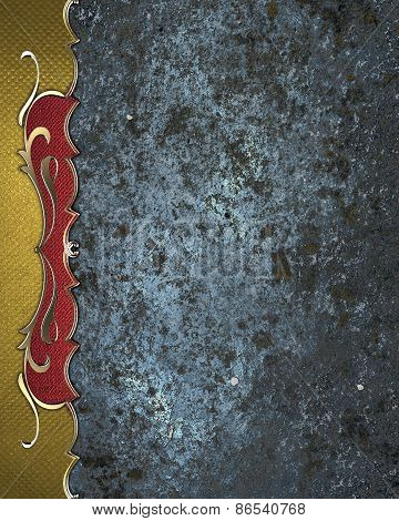 Blue Element For Design. Template For Design. Blue Grunge Background With Gold Pattern On The Edge