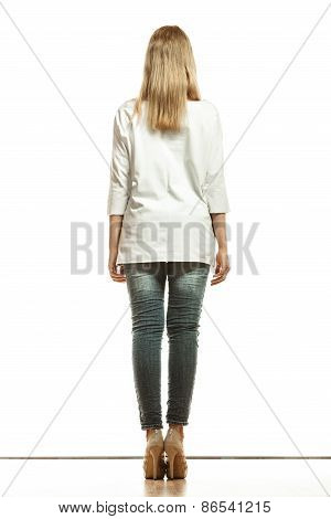 Woman In Denim Pants White Blank Top Back View