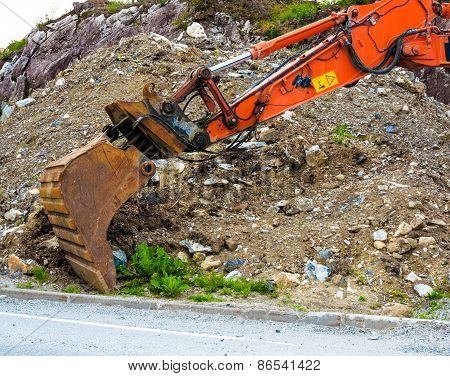Excavator Digger Shovel On Construction Site