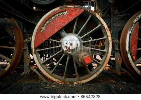 Wheels of an old train