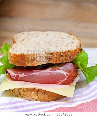 Delicious sandwic with prosciutto