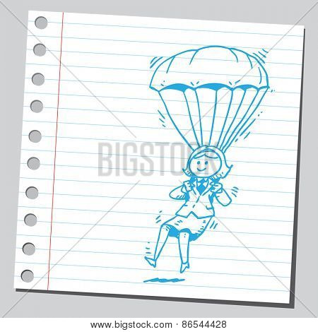 Businesswoman parachute
